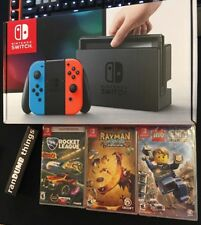 Nintendo Switch 32GB Neon Red Blue Joy-Con Rocket League Rayman Legends LegoCity