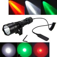 5000LM GREEN WHITE LED Tactical Hunting Flashlight Torch Gun Mount Light+Switch
