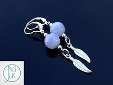 Blue Lace Agate Natural Gemstone Feather 925 Sterling Silver Earrings Crystal
