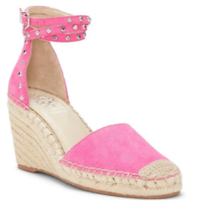 Vince Camuto VANNISA Wedge Espadrille Sandals Sz 10 Pink Suede, Studded, NEW