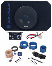 """Rockville RMW8A 8"""" 800w Tunnel Slot Ported Powered Subwoofer Enclosure+Amp Kit"""
