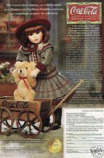 Publicité advertising 1996 Poupée Coca Cola Traditions Franklin