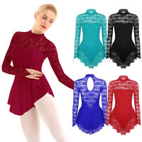 Women Ladies Ballet Dance Leotard Ice Skating Dress Bodysuit Gymnastics Costumes