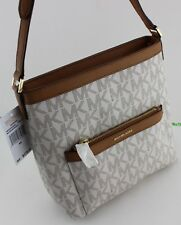 NEW AUTHENTIC MICHAEL KORS MORGAN VANILLA SIGNATURE MD MESSENGER HANDBAG