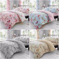 Birdie Blossom Polycotton Floral Print Duvet Quilt Cover +PillowCase Bedding Set