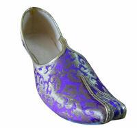 Men Shoes Wedding Handmade Loafers & Slip Ons Purple Khussa Jutties US 6