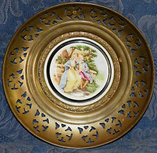 "M.Langbroek Bone China Plate ""Flirting Couple"" in Brass, Regency Made in England"