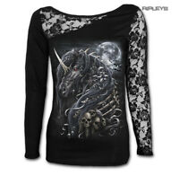 SPIRAL DIRECT Ladies Black Goth DARK UNICORN Lace Top L/Sleeve All Sizes