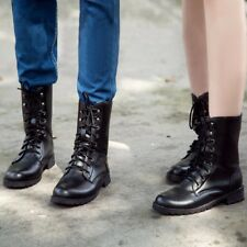 Fashion Black Men Lady Womens Combat Army Military Worker  Ankle Boots Hot Sale