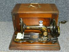 More details for antique singer 12k fiddlebase hand sewing machine 1880 wooden case with key
