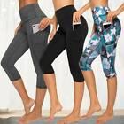Womens Yoga Pants Capri Leggings High Waist Cropped Gym Fitness Sports Trousers