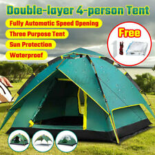 Outdoor Camping Waterproof 4 Season Family Instant Popup Tent Hiking Folding+Pad