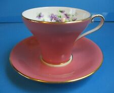 AYNSLEY PINK CUP & SAUCER CORSETTE SHAPE EXCELLENT CONDITION
