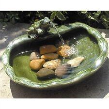 CFG8841651  Green Glazed Ceramic Fountain Bird Bath with Frog and Solar Pump