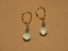 Topaz Briolette & Turquoise Drop Dangle Earring 14K & 18K Solid Yellow Gold Blue