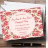Coral Pink Floral Shabby Chic Chintz Personalised Engagement Party Invitations