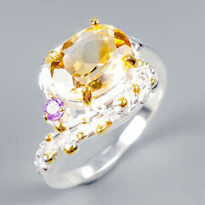 Handmade Natural Citrine 925 Sterling Silver Ring Size 7.5/R118303