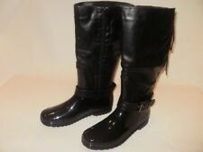 Ladies Spot On Black Lace Riding Boot Style Wellington Boot, Size UK 7 RRP £38
