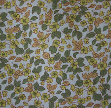 vintage 1950s Clydella tiny yellow floral & leaf print cotton twill dress fabric