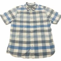 The North Face Mens Large BLUE plaid Button up shirt zipper front pocket - Flaw