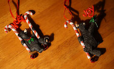 BLACK BEAR CANDY CANE NOEL JOY ORNAMENT SET Lodge Cabin Christmas Home Decor NEW