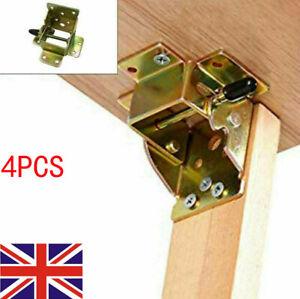 UK 4PCS Folding Table Chair Leg Hinge 90° Self Locking Bracket Hinges Hardware