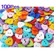 100X Plastic Heart two-hole Button Sewing Buttons LW