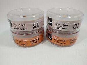 WoodWick Candle lot - 2 Palo Santo + 2 Pumpkin butter ~ 1.1 Oz ~ New