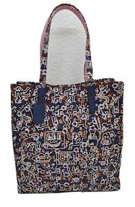 BNWT COACH KEITH HARING COLLECTION DARK ROYAL BLUE CANVAS LEATHER TRIM TOTE BAG