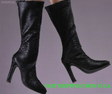 "1/6 Black Leather Boots For 12"" Hot Toys Phicen Custom Female Figure ❶USA❶"