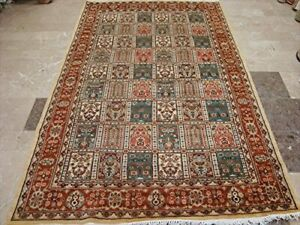 Exclusive Bakhtiar Floral Blocks Area Rug Hand Knotted Wool Silk Carpet (8 x 5)'