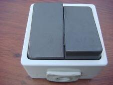 Lot de 10 Doubles Interrupteurs,NF,étanches,Pose en Saillie,IP54,Made in germany