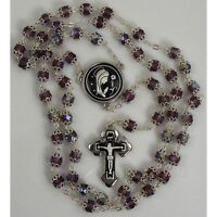 Damascene Silver Rosary Crucifix Virgin Mary Purple Beads by Midas of Spain