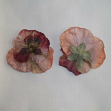"2X  Large Pansy Artificial Silk Flower 4.0""  Head Hair Clip Craft"