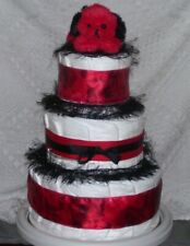 Red & Black Baby Shower Puppy Diaper Cake Party Favor Centerpiece Twins