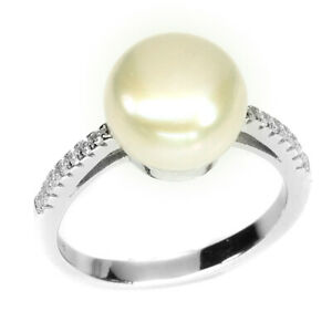 Round 9mm White Pearl White Cz 14k White Gold Plate 925 Sterling Silver Ring