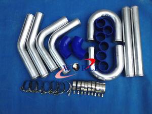 "3"" INCH 76mm UNIVERSAL ALUMINUM INTERCOOLER TURBO PIPE PIPING KIT BLUE HOSE"