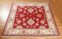 Hand Knotted Area Rugs 6x6 Wool Rug Indian Handmade Blue Carpet Oriental Carpets