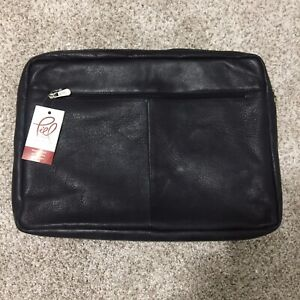 Piel Leather 17 Inch Zip Laptop Sleeve Case Bag Tote Black One Size NEW