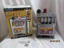 Vintage Buckaroo Coin Bank Casino Slot Machine w/ Original Box & Papers Tested