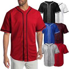 Mens Baseball Jersey MLB Plain T Shirt Team Uniform Solid Button Tee
