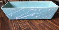 Vintage Rectangular  Aqua Seafoam Splatter Cosmic Atomic Planter marked 447 USA