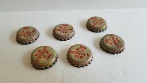 1960s VINTAGE MOUNTAIN DEW HILLBILLY SODA POP BOTTLE CAPS LOT OF 6