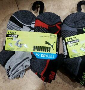 6 Pack Puma Boys Low Cut Socks~Gray+Black~Sock Size Small 5-6.5~Training~DRYCELL