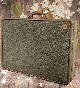Vintage Hartmann Tweed Leather Belting Full-Size Suitcase Luggage 26x19x8