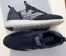 EMPORIO ARMANI EA7 Navy Trainers Sneakers Shoes Large Logo BNWT