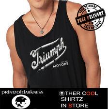 MENS TRIUMPH MOTORCYCLE  BLACK  SINGLET  S M L XL XXL  Vintage Logo FREE POST