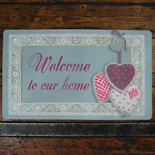 shabby chic welcome to Our Home tissu Paillasson Triple pois vichy Lacet Cœurs