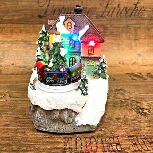 3D LED Weihnachtshaus Nostalgie 14cm Winterlandschaft Beweglich Zug Batt
