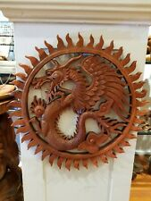 Dragon Wood Carving Panel Bali Power Auspicious Strength Wisdom Honor Protection